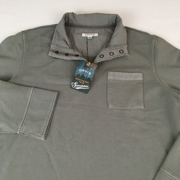 68963def1f Orvis Weathered Trim Quarter Snap Sweatshirt Sz M